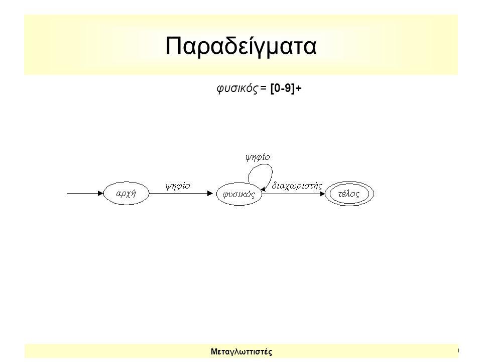 Παραδείγματα φυσικός = [0-9]+